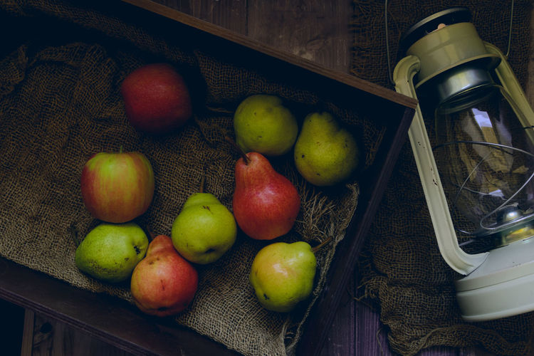 Apples And Pears Lantern Lifestyle Old Fashioned Country Life Country Style Dark And Moody Food Fruit Healthy Food Juicy Rustic Style Vintage Winter Fruits