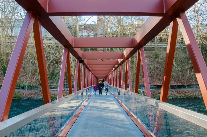 Architecture Baden Bridge Bridge - Man Made Structure Built Structure Composition Connection Diminishing Perspective Engineering Escalator Leading Limmat Metal Perspective Railing Red Structure Switzerland The Way Forward Lines And Shapes Minimalist Architecture