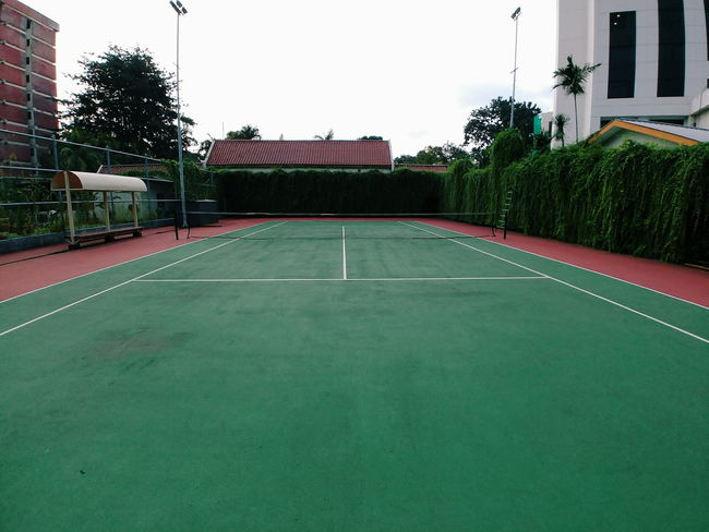 Architecture Building Exterior Built Structure Court Day Green Color No People Outdoors Sky Sport Tennis Tennis Net Tree