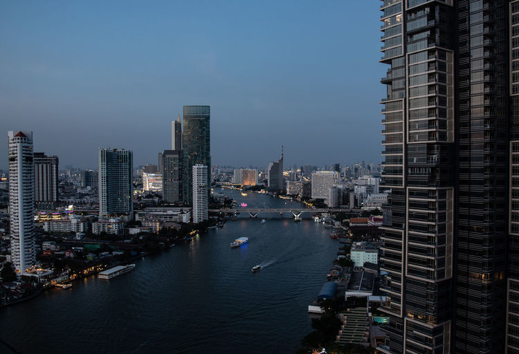 River passing through city buildings