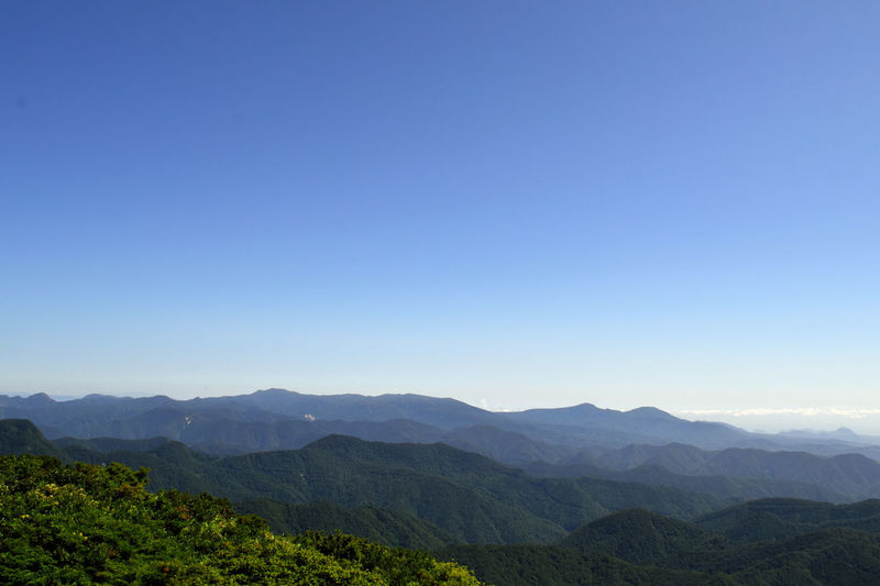 Beauty In Nature Blue Clear Sky Hill Idyllic Landscape Majestic Mountain Mountain Range Nature No People Outdoors Sky Tourism Tranquil Scene Tranquility Travel Destinations 大東岳 ⛰からの 船形山 泉ヶ岳 笹倉山