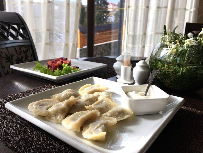 Ukrainian Dishes Dumplings Sour Cream
