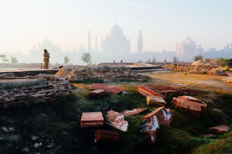 Agra Architecture Built Structure City Day Fog India Indian Landscape Nature No People Outdoors Sky Social Issues Sunset Tajmahal Tajmahal Agra India. Travel Travel Destinations Tree Water