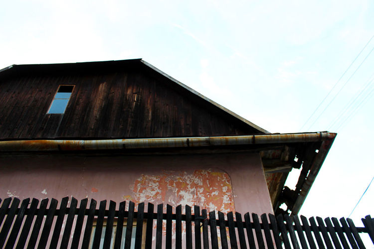 Architecture Building Building Exterior Built Structure Czech Day Decay Exterior Low Angle View No People Pink Building Residential Building Residential Structure Roof Wooden Roof