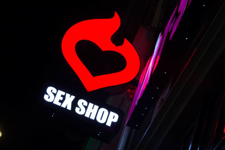 Light Amsterdamcity Close-up Communication Illuminated Night No People Outdoors Red Road Sign Sexshop Text Walletjes