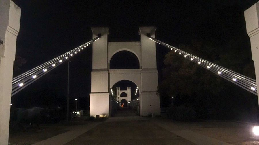 Waco Susoension Bridge Night Transportation Architecture Illuminated Arch No People Bridge - Man Made Structure Outdoors