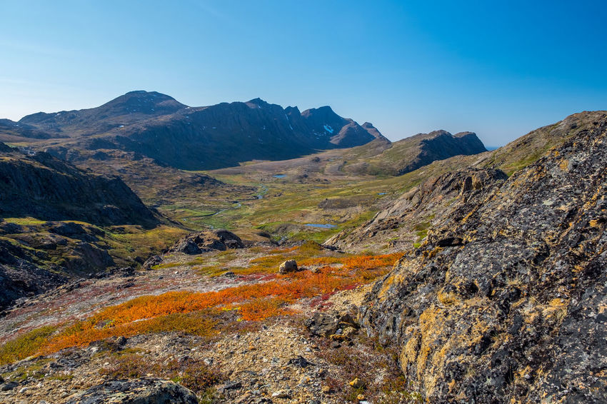 Autumn Autumn Colors Greenland Tundra Arctic Arctic Circle Arctic Circle Trail Beauty In Nature Clear Sky Day Landscape Mountain Mountain Range Nature No People Outdoors Scenics Sky Tranquil Scene Tranquility