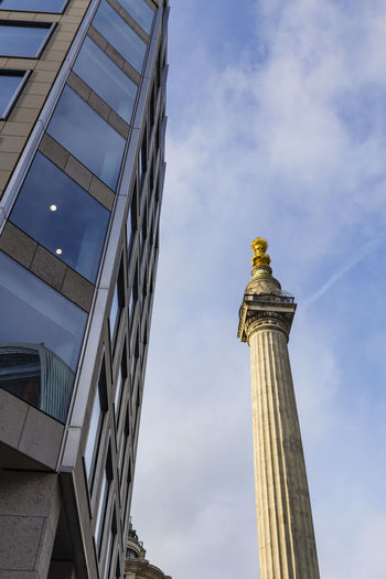Monument to the Great Fire of London, London, England, United Kingdom Architecture Building Exterior Built Structure City Cloud - Sky Day History Low Angle View No People Outdoors Sculpture Sky Statue Travel Destinations