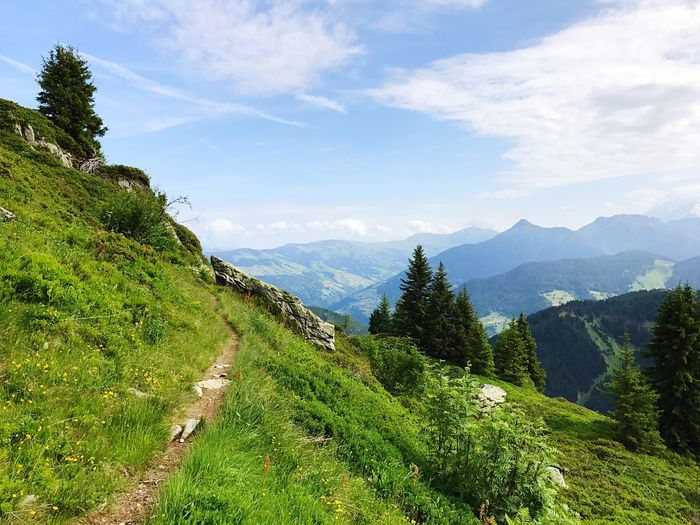 France Alps Hiking Trail Hiking Trip Hiking Path Mountain Sky Nature Beauty In Nature Mountain Range Green Color Scenics Tranquil Scene Tree Landscape Outdoors Day No People