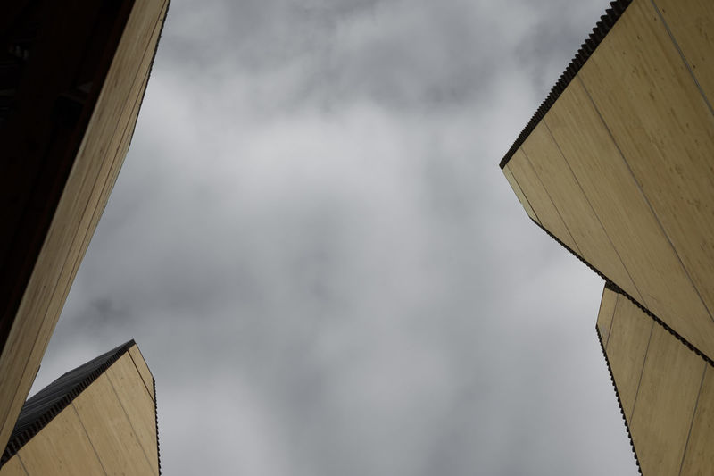 Architecture Architecture_collection Architecture Art Building Exterior Built Structure Cloud - Sky Day Horizon Looking Up Looking Up At The Sky Low Angle View Modern No People Outdoors Sky Tower Yellow