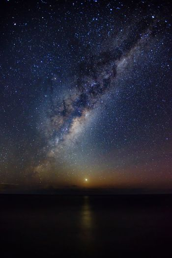 Idyllic Shot Of Milky Way Over Sea Against Sky