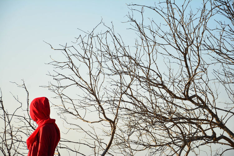 Woman standing by bare tree against sky