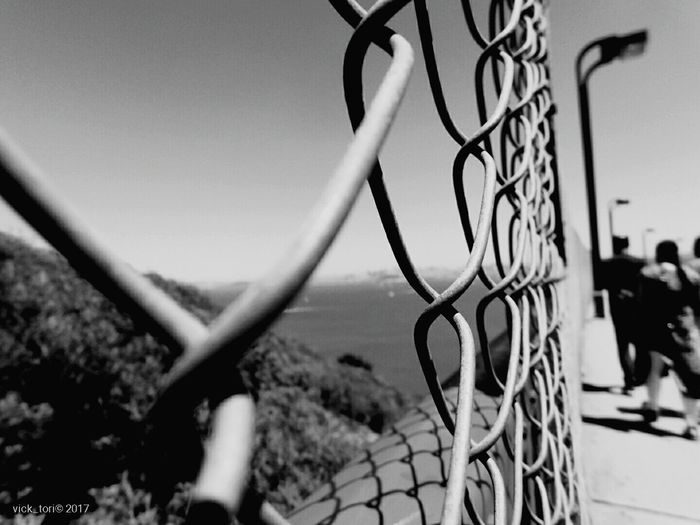 Tennis Sport Net - Sports Equipment Sky Day Outdoors Basketball - Sport Soccer Court No People Basketball Hoop Close-up Fenced Fenced View Golden Gate Bridge