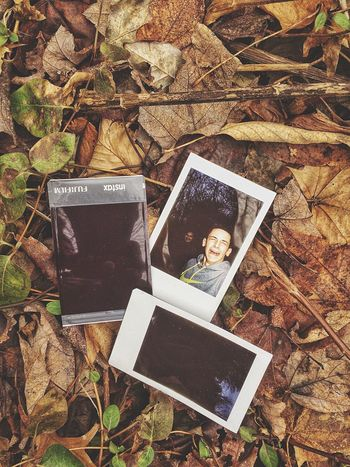 Found a creepy photo while out walking an abandoned marble quarry.... Photograph Technology Leaf No People Postcard Outdoors Day Poloroid Male Leaves December Connecticut New England  Creepy Creepy Face