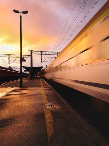 Train Train Polska Poland Warmia Olsztyn Train Tracks Transport Sunset Lighting Equipment Silhouette Beach Sky Cloud - Sky Romantic Sky Atmospheric Mood EyeEmNewHere