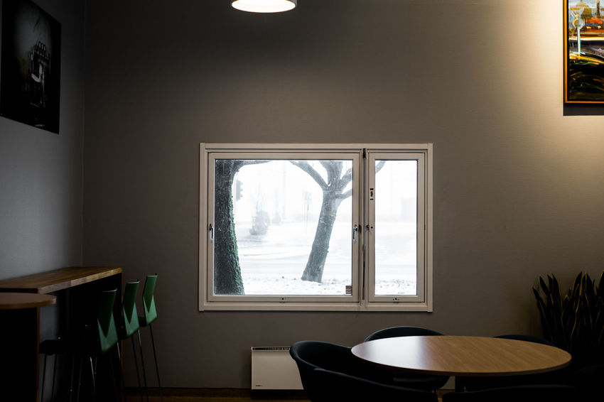 window Looking Out Of The Window Looking Out The Window Trees Wall Winter Chairs Day Home Interior Indoors  Interior Design No People Table Tablecloth Window Window On Wall
