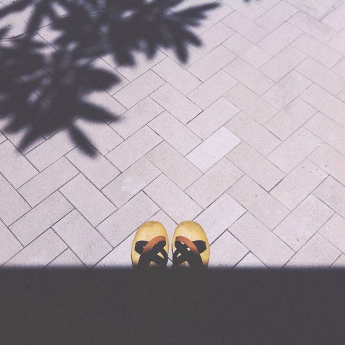 High angle view of sandals on street during sunny day