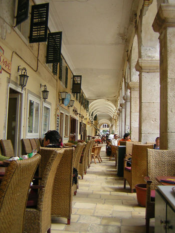 Archade Architecture Built Structure Cafe Chair Coffee Coffee House Day Esplanade Indoors  Men People Real People Restaurant