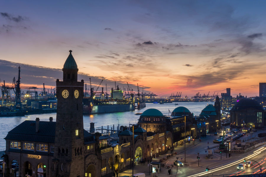 Hamburg Harbour View Landungsbrücken  Architecture Building Exterior Built Structure City Cityscape Cloud - Sky Day Ilovehamburg Nature No People Outdoors Ship Sky Sunset Transportation Travel Destinations Water Mobility In Mega Cities