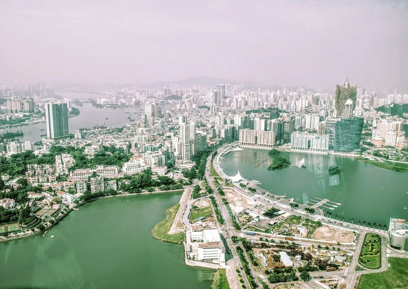 Water City Travel Tree Cityscape No People Lake Macau City View Drone View View From Macau Tower Macau, China Flying High Sky Outdoors Architecture Extreme Weather Day
