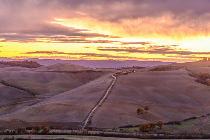 Crete Senesi Torre A Castello Arid Climate Beauty In Nature Chianti Cloud - Sky Day Desert Italian Landscape Mountain Nature No People Outdoors Physical Geography Scenics Sky Sunset Tranquil Scene Tranquility Travel Destinations