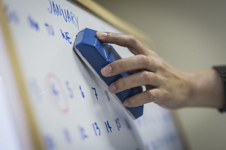Cropped Hand Of Female Student Erasing Text On Whiteboard