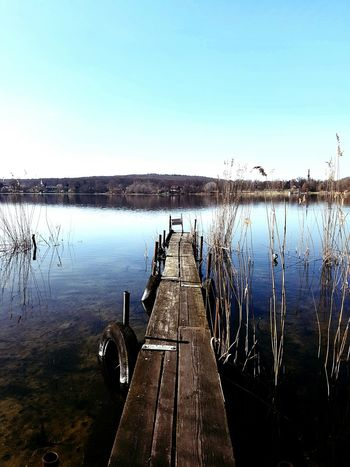 Water Lake Nature Pier Sky Reflection Beauty In Nature Tranquility Outdoors No People Spring Photo Of The Day Photooftheday Potsdam Krampnitz