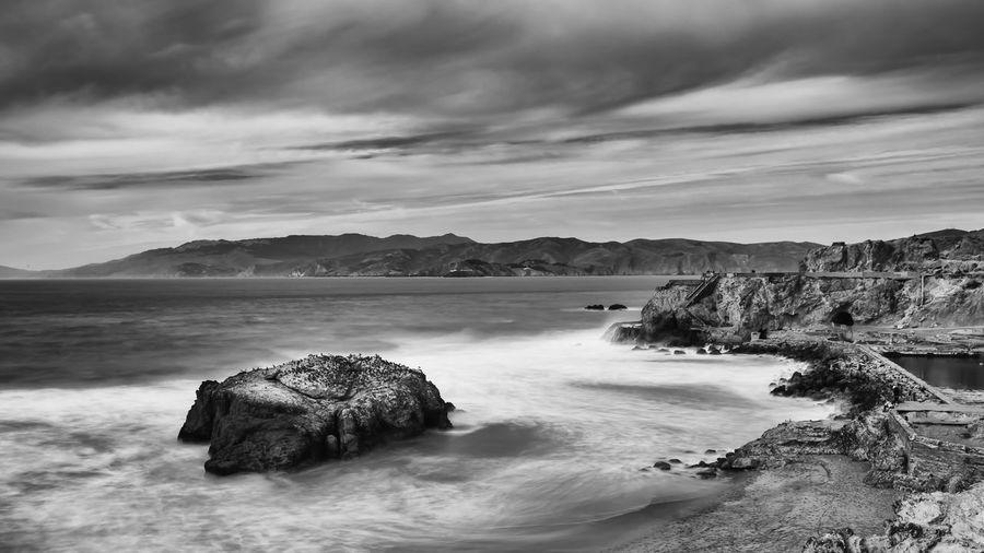 California San Francisco Sutro Bath Ruins  Long Exposure Seascape Black And White