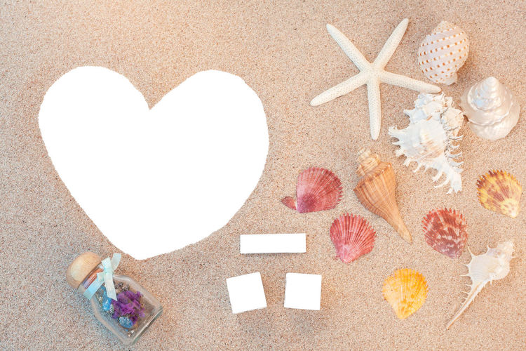 High angle view of blank heart shape paper and seashell on sand at beach