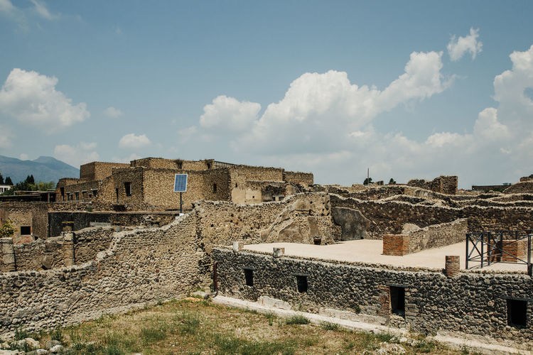 Architecture Built Structure Sky Building Exterior Cloud - Sky Ancient History The Past Old Ruin Old Day Ancient Civilization Travel Destinations Building Outdoors Travel Abandoned Archaeology Ruined Stone Wall Pompeii  Ruins Ruins Architecture Pompeii Ruins Italy