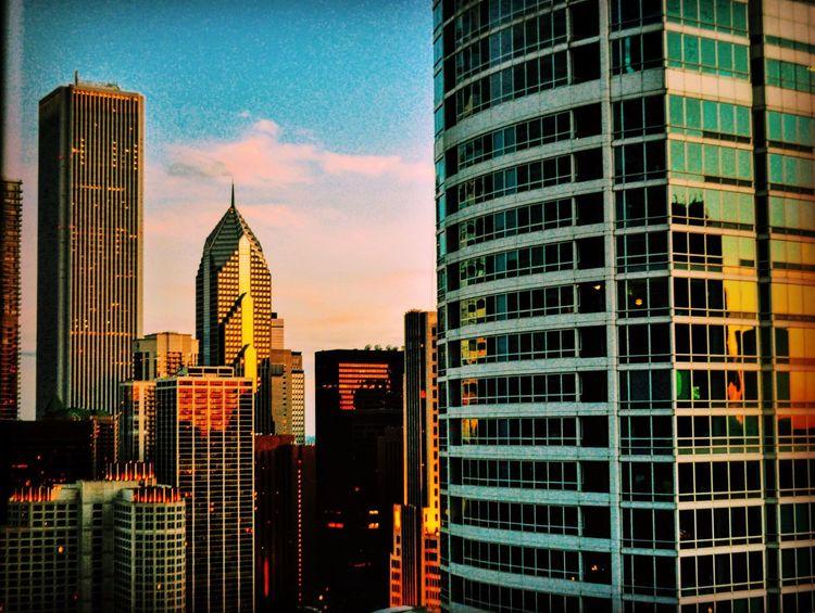 Chicago Architecture Skyscrapercity Sunsetreflection