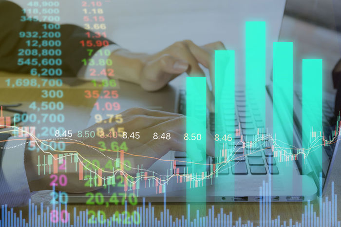 Business man on digital stock market financial indicator background. Digital business and stock market financial indicator. Double exposure of business man and digital investor stock market financial. Business Currency Economy Exchanging Growth Indicator Market Technology I Can't Live Without Ticker Analysis Chart Commercial Digital Exchange Finance Financial Funds Marketing Marketingdigital Statistics  Stock Stockmarket Success Technology Trade