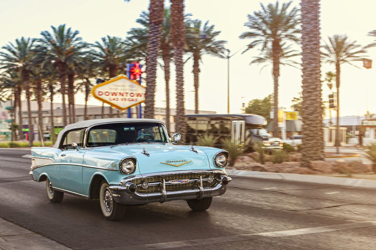 classic Chevrolet in Downtown Las Vegas 50s Las Vegas Old Vegas Palm Tree Road Baby Blue Car Chevrolet Chrome Day Nevada No People Outdoors Sky Transportation