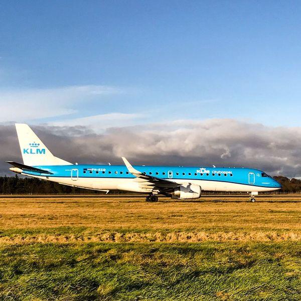 Edinburgh Airport KLM Transportation Grass Mode Of Transport Blue Outdoors Sky Airplane