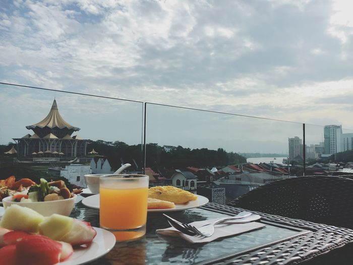 Breakfast Breakfast Breakfast ♥ Breakfast Time Sky Food And Drink Table (null)Cloud - Sky Building Exterior No People Nature Freshair Outside Drink Borneo Kuching