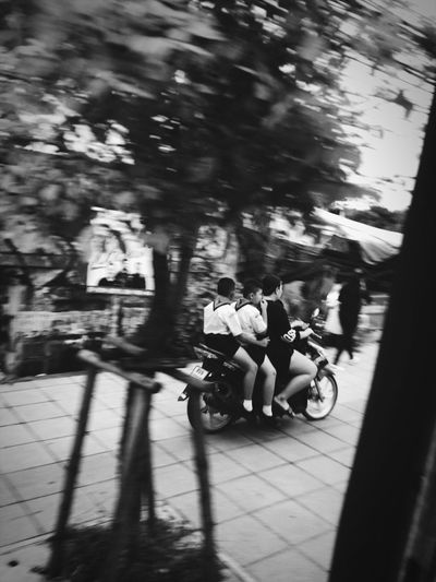 Riding Bicycle Transportation Mode Of Transport Land Vehicle Blurred Motion Real People Speed Shadow Cycling Street Motorcycle Day Motion Togetherness Sunlight Full Length Childhood Outdoors Road Family Brohter Boyscouts Streetphotography Loveformom