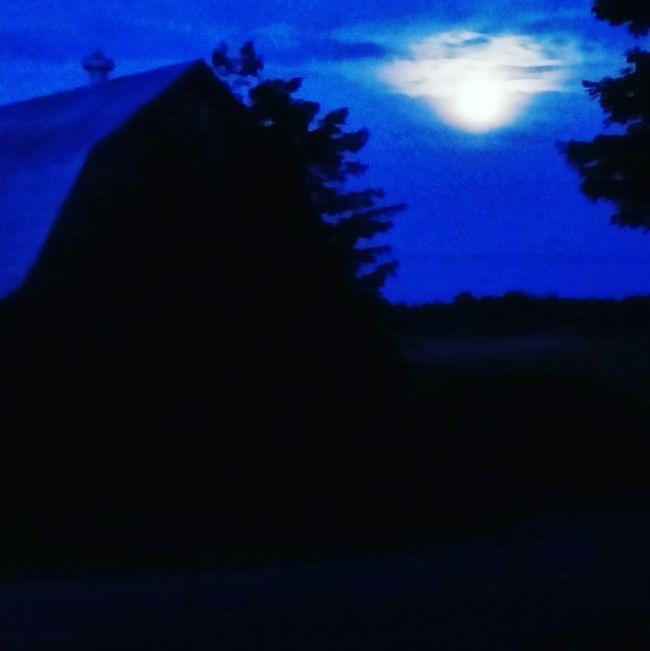 #barn #home #summer #moonlight Astronomy Moon Tree Moonlight Space Sky Full Moon