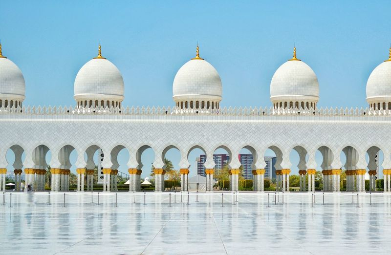 Courtyard Of Sheikh Zayed Mosque In Abu Dhabi