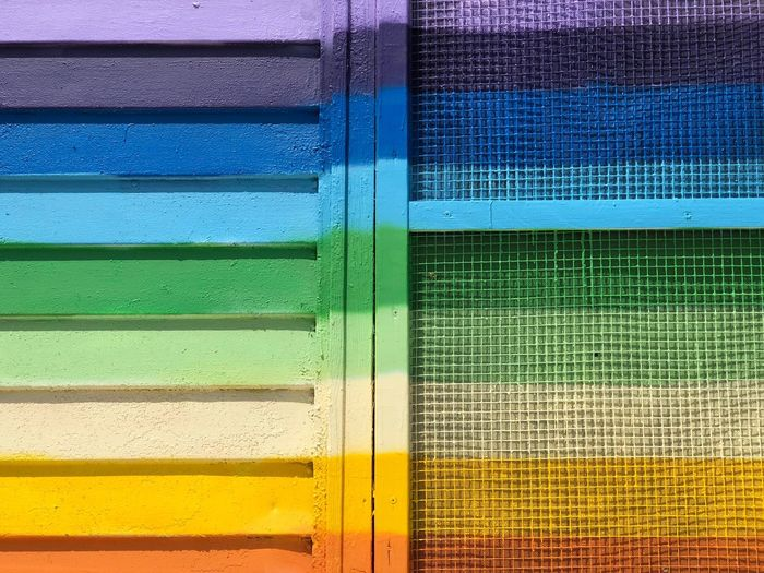 Rainbow Striped Stripes Paint Screen Multi Colored Yellow Full Frame No People Close-up Backgrounds Blue Pattern Day Outdoors Wall - Building Feature Visual Creativity