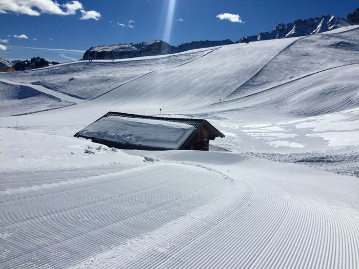 Seiser Alm Pure Untouched Unaffected Hut Skiing Snow Cold Temperature Winter Scenics - Nature Sky Mountain Transportation Beauty In Nature Environment Snowcapped Mountain White Color Powder Snow Tranquility