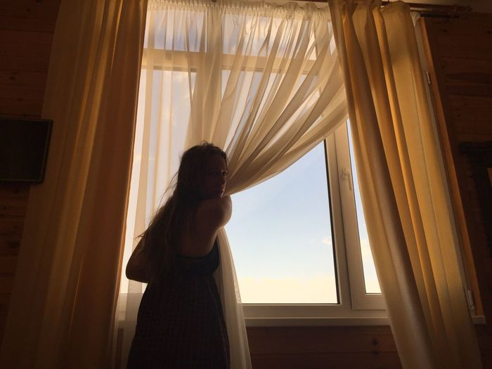 Window beauty Morning Light Morning Beach Sunny Day Sunny Sun Girl Curtain Window Drapes  Indoors  Standing One Person EyeEmNewHere