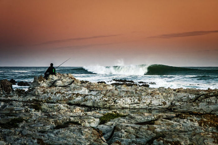 Big Swell Danger Point Fisherman Sea South Africa Stormy Sunset Tranquility Water Wave The Great Outdoors - 2016 EyeEm Awards