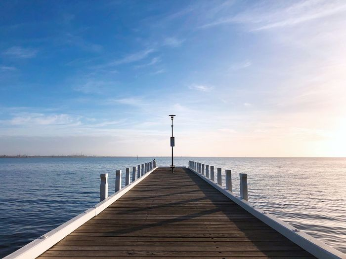 Water Sky Sea Pier Horizon The Way Forward Diminishing Perspective Tranquility Nature Horizon Over Water Direction Tranquil Scene Beauty In Nature Day Scenics - Nature Architecture Outdoors Guidance No People Jetty