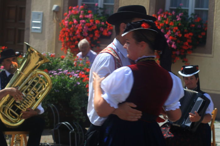 Dancing Schwarzwald Accordeon Cap Celebration Event Flowers Germany Instruments Lifestyles Movement Music Musician Outdoors Real People St Maergen Summer 2013 Togetherness Tuba