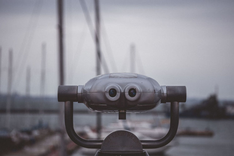 Close-up of coin-operated binoculars