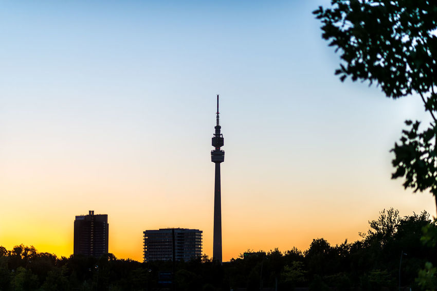 Florian im Sonnenuntergang / Televison tower Dortmund in the sunset Dortmund Florian Architecture Building City Plant Silhouette Sky Tourism Tower Travel Travel Destinations