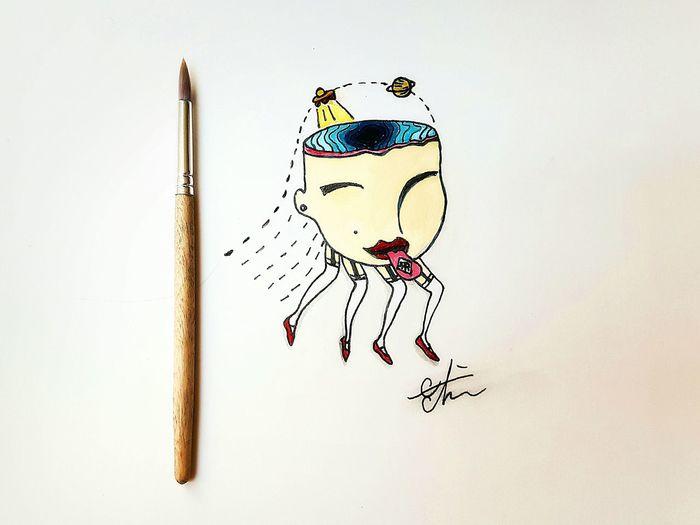 My drawing .a spaceship eat my brain. Drawing Paint LSD Phycodelic EyeEm Gallery Kapriziös
