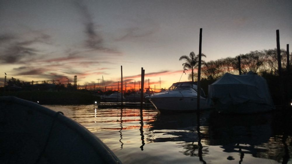 Sunset Water Nautical Vessel Boat Sky River Tranquil Scene