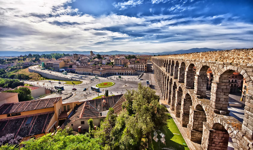Acueduzto Ancient Civilization Arch Architecture Beauty In Nature Building Exterior Built Structure City Cityscape Cloud - Sky Day España High Angle View History Mountain Nature No People Outdoors Segovia Sky Travel Destinations Tree