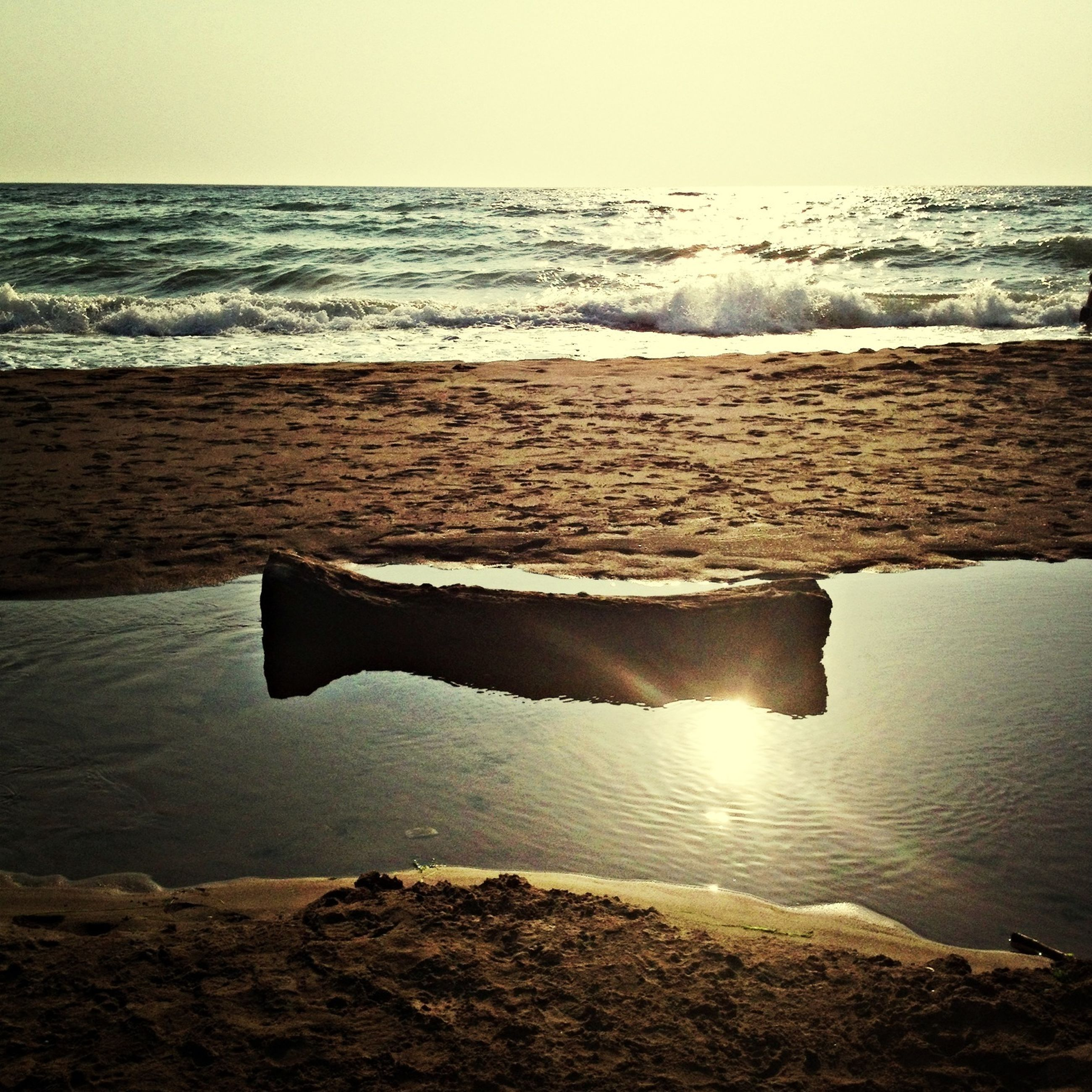 sea, water, horizon over water, beach, tranquil scene, shore, tranquility, scenics, beauty in nature, nature, clear sky, sand, wave, idyllic, sky, remote, calm, non-urban scene, outdoors, copy space
